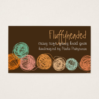 Custom color yarn balls knitting crochet homespun business card
