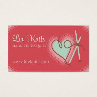 Custom color yarn heart knitting needles card