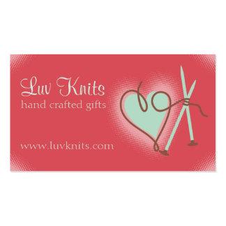 Custom color yarn heart knitting needles card business cards