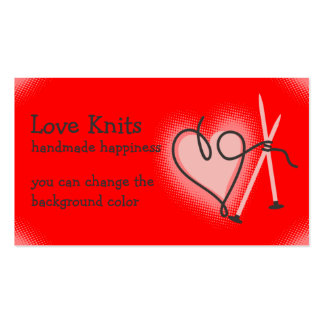 Custom color yarn heart knitting needles card Double-Sided standard business cards (Pack of 100)