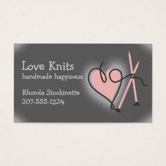 Custom color yarn heart knitting needles knitter business card