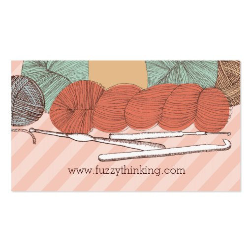 custom color yarn skeins crochet hooks mint coral business card template