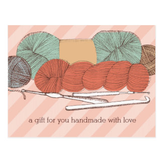 custom color yarn skeins crochet hooks mint coral postcard