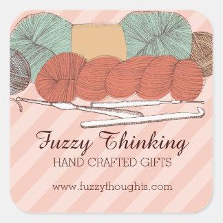 custom color yarn skeins crochet hooks mint coral square sticker