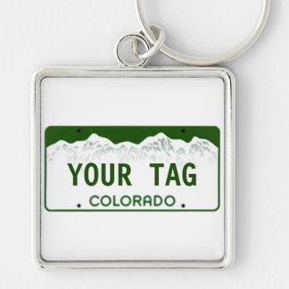 Custom Colorado License Plate Silver-Colored Square Keychain