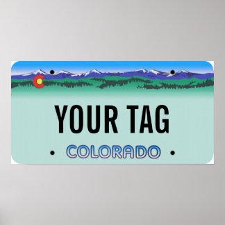 Custom Colorado Modern License Plate Poster