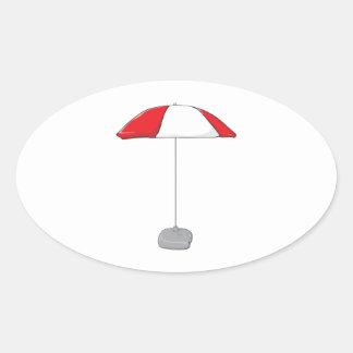 Custom Colorful Beach Umbrella Invitation Stamps Oval Sticker