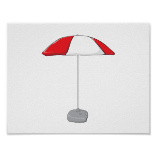 Custom Colorful Beach Umbrella Water Bottles Clock Poster