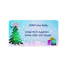 Custom Colorful Christmas Tree  and Presents Label