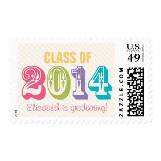 Custom Colorful Class of 2014 Postage Stamp