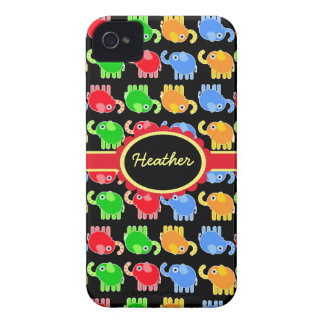 Custom Colorful Elephants iPhone 4 Barely There Case-Mate iPhone 4 Case