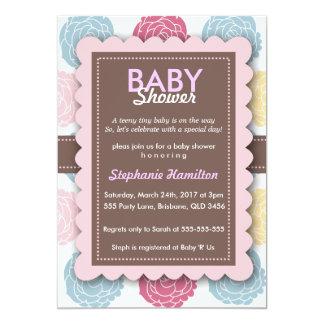 Custom colorful  flower baby shower invite