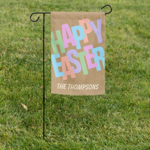 Custom Colorful Happy Easter Retro Script Garden Flag