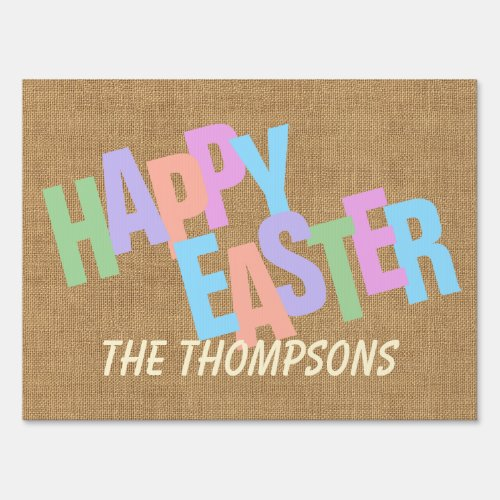 Custom Colorful Happy Easter Retro Script Sign