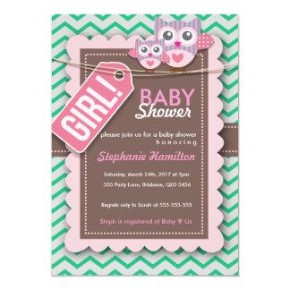 Custom colorful owl baby shower invite