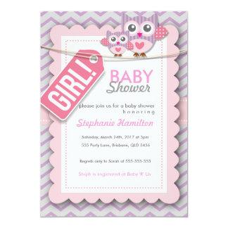 Custom colorful  owl flower baby shower invite