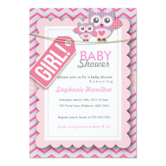 Custom colorful  owl flower baby shower invite