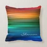 "Custom Colorful Rainbow Stripe Pillow<br><div class=""desc"">Custom multicolor stripe pillow. Vibrant and striking rainbow ribbon stripe design featuring an array of the many shades of red, green, blue and yellow. Personalize it with your name or any other text you&#39;d like (or delete the text). Colorful rainbow stripe pillow perfect for adding a bright punch to your...</div>"