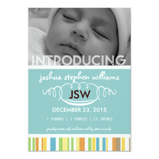 Custom colorful stripes baby boy card