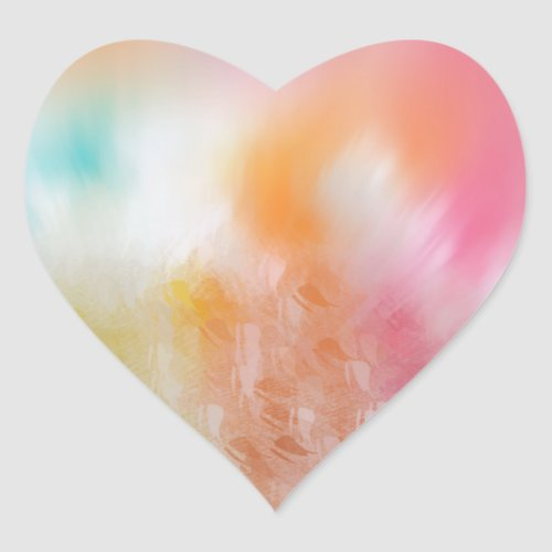 Custom Colorful Template Abstract Pink Red Yellow Heart Sticker