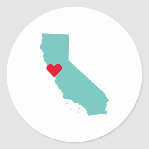 Custom Colors California Map Shape and Heart Classic Round Sticker