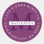 Custom Colors Monogram Circular Return Address Sticker