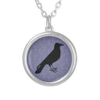 Custom Colour Raven Silver Plated Necklace