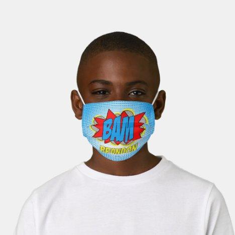 Custom Comic Book Pop Art BAM! Illustration Kids' Cloth Face Mask