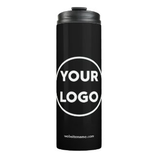 Custom Company Logo and Business Website Black Thermal Tumbler