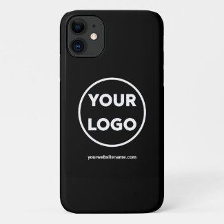 Custom Company Logo and Business Website on Black Case-Mate iPhone Case