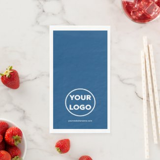 Custom Company Logo and Business Website on Blue Paper Guest Towels