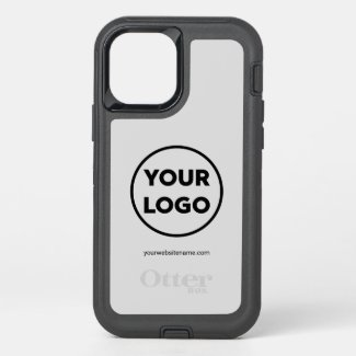 Custom Company Logo and Business Website on Gray OtterBox iPhone Case