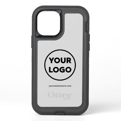 Custom Company Logo and Business Website on Gray OtterBox Defender iPhone 12 Pro Case