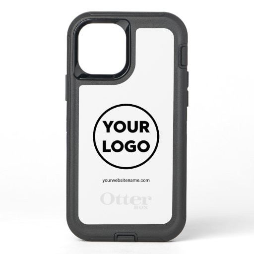 Custom Company Logo and Business Website on White OtterBox Defender iPhone 12 Pro Case