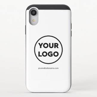Custom Company Logo and Business Website or Slogan iPhone XR Slider Case