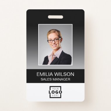 Custom Company Logo Bar Code Employee Photo Black Badge