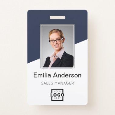 Custom Company Logo Bar Code Employee Photo Blue Badge