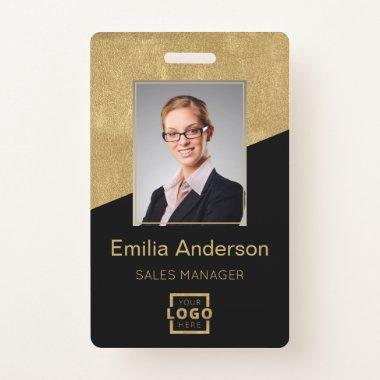 Custom Company Logo Bar Code Employee Photo Gold Badge