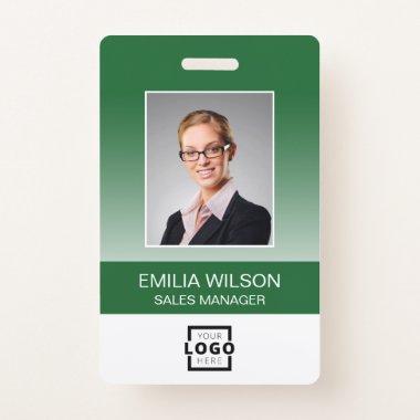 Custom Company Logo Bar Code Employee Photo Green Badge
