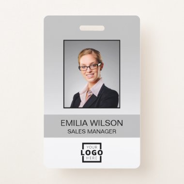 Custom Company Logo Bar Code Employee Photo Grey Badge