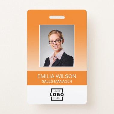Custom Company Logo Bar Code Employee Photo Orange Badge