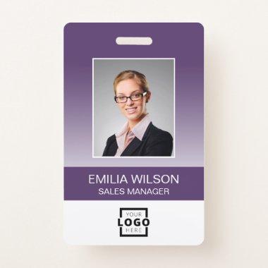 Custom Company Logo Bar Code Employee Photo Purple Badge