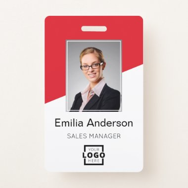Custom Company Logo Bar Code Employee Photo Red Badge