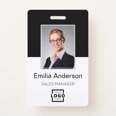 Custom Company Logo Basic Bar Code Employee Photo Badge