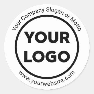 Custom Company Logo, Business Website and Slogan Classic Round Sticker