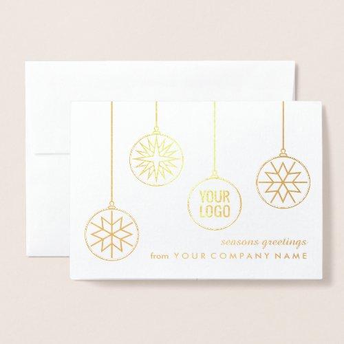 Custom Company Logo Christmas Ornaments Gold Real Foil Card
