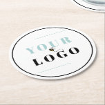 """Custom Company Logo Round Paper Coaster<br><div class=""""desc"""">Simple and professional with your logo front and center. The template is set up ready for you to add your logo to the coaster, which is framed with a single black line. If you wish to add a background color or change the color of the outer border to suit your...</div>"""