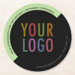 """Custom Company Logo Round Paper Pulpboard Coasters<br><div class=""""desc"""">Easily personalize these custom paper pulpboard coasters with your company logo, business slogan, website address, or other custom text. These are 50 point pulpboard (THE SIDE VIEW IS SHOWING A SET OF SIX). You can customize the colors in the background to match your logo or corporate colors. If you"""
