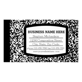 Custom Composition Book Black/White School/Teacher Business Card Templates