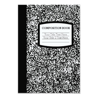 Custom Composition Book Black/White School/Teacher Card